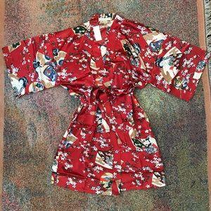 Other - New vintage floral Asian Asia print Robe Kimono